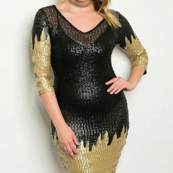 Black Gold Plus Size Dress